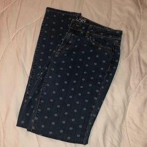 Worn once. Polka dot LOFT Modern Skinny Jeans.